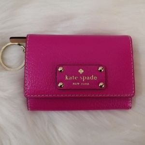 Kate Spade Pink Leather Card Holder Keychain